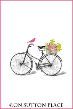 Free Printable | Nostalgic vintage bicycle with basket of flowers on the back! | download and use for DIY wall art, cards, crafts, screensavers and more!