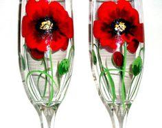 Hand Painted Wine Glasses Poppies Red por SharonsCustomArtwork