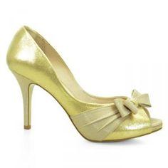 Sapato de Noiva Peep Toe Laura Porto Dourado Bege - MM732