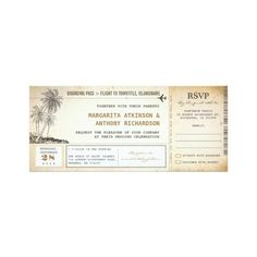 old boarding pass flight wedding invites with RSVP ($2.30) ❤ liked on Polyvore featuring home, home decor and boarding pass wedding invitations