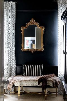 Black Gold Bedroom black bedroom with ornate gold mirror and gold bench Home Design, Home Interior Design, Design Ideas, Interior Livingroom, Room Interior, Design Projects, Home Decor Bedroom, Living Room Decor, Bedroom Ideas