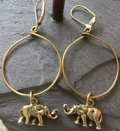 Elephant Charms on Large Antique Gold Hoop Earrings, Lightweight and Fun by CMEjewelry on Etsy