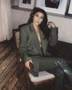 Kourtney Kardashian in a Straight Fit Shiny Bottle Green Leather Trousers Giving Interview About Clean Beauty, Morning And Evening Beauty Routines And All Things Health And Wellness, Autumn Winter Kris Jenner, Kendall Jenner, Kylie, Kourtney Kardashian 2018, Kourtney Kardashian Instagram, Kardashian Style, Kardashian Jenner, Kardashian Fashion, Kourtney Kardashion