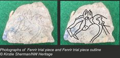 scrap of lead sheet from the floor of a metalworkers shop is a trial piece depicting a well known scene from Norse mythology, Fenrir the wolf devouring Odin at Ragnarok.
