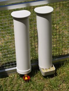 PVC Chicken feeder system to help prevent spoilage, waste, and rodents