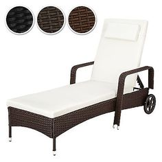 Outsunny Garden Rattan Furniture 3 PC Sun Lounger Recliner Bed Chair Set  With Side Table Patio Outdoor Wicker Adjustable Head Height FIRE RESISTANTu2026