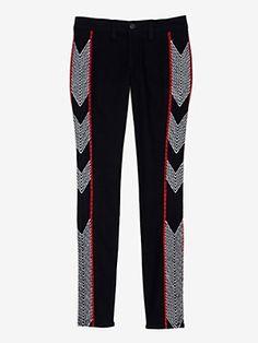 rag & bone/JEAN Midrise Embroidered Skinny Jeans