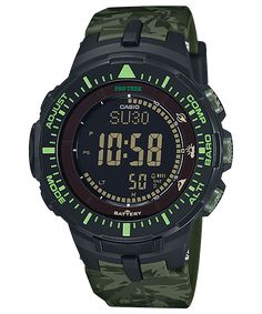 ad926fa90178 Casio Protrek PRG-300-3JF green camo watch with negative display  Camouflage