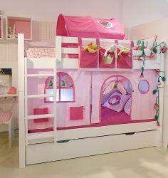 Beliche casinha - usar tecidos para criar a casa numa beliche normal