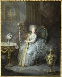 A portrait of Madame Elisabeth of France, sister of Louis XVI, by Charles Leclercq. 1783.