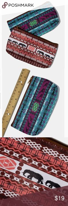 2 Pack Tribal Print Zip Pouch Tribal Print Zip Pouch Zippered pouch with colorful tribal and animal prints.  Perfect for carrying cash, cards, and your everyday makeup essentials Could be used as cosmetic case, makeup bag, pencil case, wallet pouch, etc. 2 Pack: comes with one teal pouch and one pink pouch. Bags Cosmetic Bags & Cases