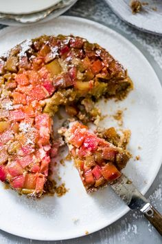 Gluten Free Upside down Rhubarb Cake made with Almond Flour | www.feastingathome.com