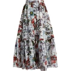 Erdem Leigh Yuki Garden floral-print skirt ($1,687) ❤ liked on Polyvore featuring skirts, white print, high waisted skirts, floral skirt, high-waist skirt, floral knee length skirt and high-waisted skirts