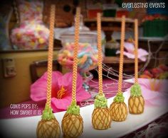 Pineapple cake pops at a luau birthday party! See more party ideas at CatchMyParty.com!