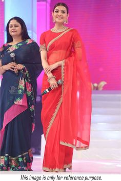 Shop Bollywood style Kajal Aggarwal red colour satin georgette saree at…