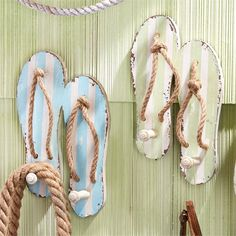 Cute beachy flip flop wall hooks are just waiting to hold your towel and beach…