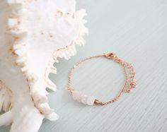 Rustic Gemstone Bar Bracelet Rose Quartz by MoonTideJewellery