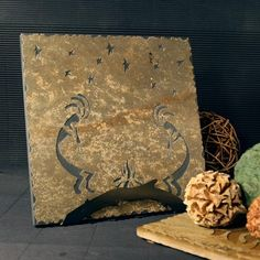 Natural Stone Trivet / Hot Plate - Kokopelli on Buff Slate by stonegifts on Etsy