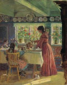 Laurits Tuxen (1853-1927) - Pouring the morning coffee, 1906