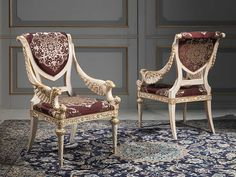 For the classic luxury furniture collection for the living area, chairs richly carved by hand in Louis XVI style, finishing white over gold