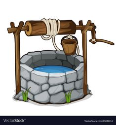 The stone well with a bucket and drinking water isolated on a white background. Cartoon vector close-up illustration. of drink water water aesthetic water clipart water funny water meme water motivation water quotes Water Drawing, Sun Drawing, Water Well, Bible Crafts, Clipart Images, Drawing For Kids, Cartoon Styles, Drinking Water, Sunday School