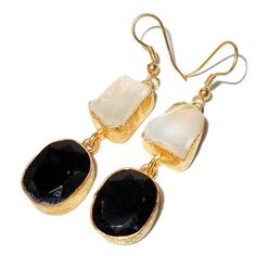 Gold-plated Brass Black Onyx & Crystal Rough Cut Gemstone Handmade Earringshttps://sitaracollections.com/collections/goldplated-jewelry/products/gold-plated-brass-black-onyx-crystal-artisan-made-earrings