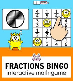 Your students will have a blast practicing fractions with this fun and engaging BINGO game. It works will all interactiv Educational Math Games, Educational Websites For Kids, Fun Math Games, Bingo Games, Learning Games, Math Activities, Monster Theme Classroom, Classroom Games, Cat Games