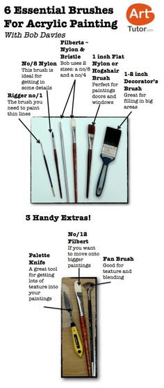 Acrylic Tools - types of brushes