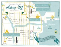 Custom Chicago Wedding Map by cwdesigns2010 on Etsy, $270.00