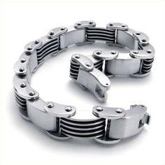 KONOV Jewelry Heavy Stainless Steel Mens Bracelet Biker Bangle, Silver Black, 9 Inch KONOV Jewelry,http://www.amazon.com/dp/B008KK0FQQ/ref=cm_sw_r_pi_dp_Wce-sb08WAW47Q4F