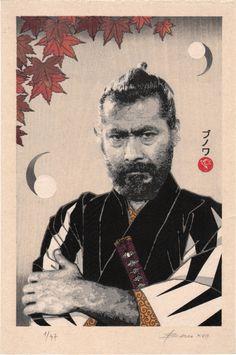 The Kimono Gallery Japanese Film, Japanese Prints, Kurosawa Akira, Toshiro Mifune, Japanese Warrior, Film School, Japan Art, Nihon, Creative Inspiration
