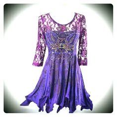 Violet Fireworks Tunic, Pyramid Collection Amazingly beautiful violet top with rhinestones & sublimation pleat print; lace top & 3/4 sleeves; lettuce-edged hem; poly/spandex, two tiny white dots/discoloration in fabric, never noticed till now (see last pic ), only wore once and washed once. Size large, comparable to a size 12. Pyramid Collection  Tops Tunics