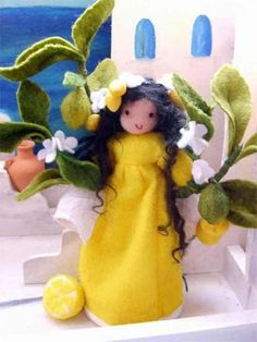 Amrei-Blumenkinder - Exotische Pflanzen pretty needle felted lemon tree fairy very cute and japan kawaii style