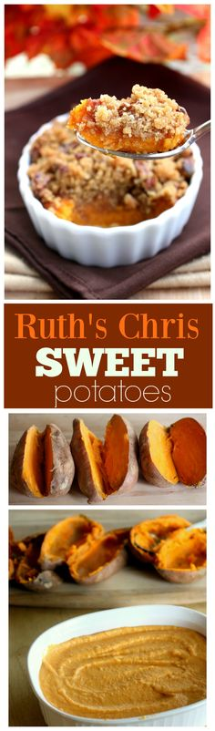 These Sweet Potatoes are creamy and topped with a brown sugar pecan crust just like they are at Ruth's Chris Steakhouse. One of our family favorites, this will turn even non-sweet potato lovers into avid fans. the-girl-who-ate-everything.com