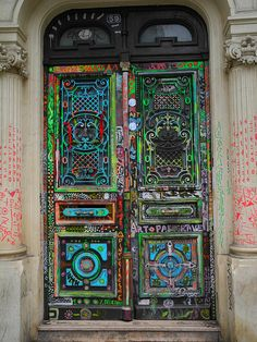 Decorated Door on the Right Bank of Paris