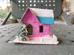 Putz House, Mica House, Castle, snowy Christmas Ornament,  Christmas Decoration,  1950s Christmas Ornament, Light Cover, Christmas, tree by DeliciasCastle on Etsy