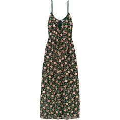Ashish Embellished embroidered silk-georgette maxi dress (2,390 CAD) ❤ liked on Polyvore featuring dresses, green maxi dress, flower embroidered dress, shimmer dress, leaf print dress and flower dress