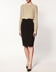 bee57277bc7c Two tone Zara Dress WANT Formal Business Attire, Fall Outfits For Work,  Office Fashion