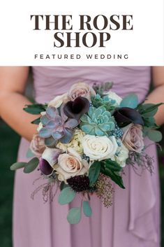 A featured wedding at Le Jardin with wedding flowers by The Rose Shop Blue Orchid Wedding, Dusty Rose Wedding, Floral Wedding, Wedding Bouquets, Wedding Flowers, Wedding Decor, Wedding Ideas, Succulent Bouquet, Rose Shop