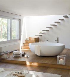 #baignoire et #escalier flottant #design nature