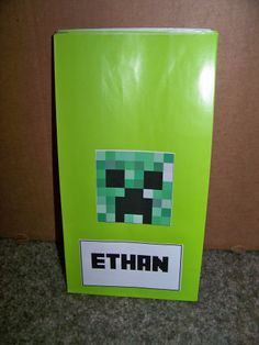 Minecraft Creeper Goody bag - Party City Green paper favor bags and Avery Sticker paper