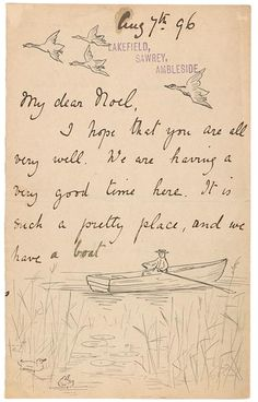 1896, personal note and illustration by Beatrix Potter