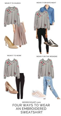 four easy ways to style this perfect embroidered sweatshirt from nordstrom
