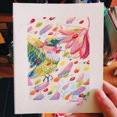 Hummingbird painting for my junior at work. Hummingbird Painting, Art Director, Gouache, Illustration Art, Artwork, Work Of Art, Auguste Rodin Artwork, Artworks, Hummingbird Drawing