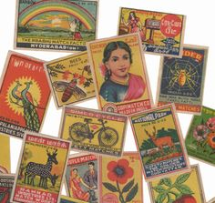 25pcs INDIAN MATCHBOX STICKERS Vintage by cOveTableCuriOsitiEs, $11.95