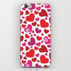 Heart Pattern 1 - Red, Pink, Purple iPhone Skin by pixaroma Red And Pink, Pink Purple, Iphone Skins, Iphone Cases, Heart Patterns, Laptop Skin, Mugs, Pillows, Stuff To Buy