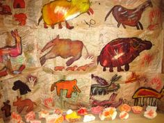 Cave Art:  Re-creating a cave similar to the Lascaux Caves in France filled students' work.  Helps them fully understand the importance of  early cave paintings as the first ever art in history.