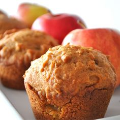 Pumpkin Apple Streusel Muffins - use half white and half brown sugars, use cinnamon, nutmeg, all spice and ginger, add vanilla. Can replace butter for oil. So sweet doesn't need streusel topping. Zucchini Muffins, Muffins Blueberry, Streusel Muffins, Apple Streusel, Streusel Topping, Apple Muffins, Mini Muffins, Quinoa Muffins, Almond Muffins