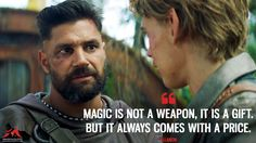 Allanon: Magic is not a weapon, it is a gift. But it always comes with a price.  More on: https://www.magicalquote.com/series/the-shannara-chronicles/ #TheShannaraChronicles #allanon #magic