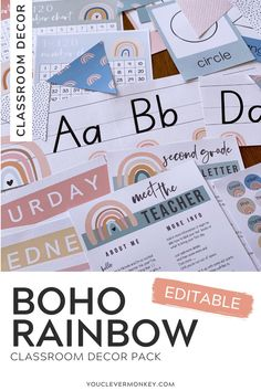This bundle of gorgeous modern BOHO RAINBOW classroom decor can be used in endless ways around your classroom! With easy to edit labels, posters, calendars, number lines, meet the teacher templates, shape posters, word walls and so much more, setting up your classroom has never been easier with these neutral modern rainbow designs! Or better value... #bohorainbowclassroom Classroom Labels, Classroom Displays, Classroom Themes, Classroom Organization, Meet The Teacher Template, Welcome To Kindergarten, Birthday Display, Shape Posters, Number Lines